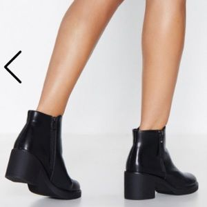 Nasty Gal - Black Faux Leather Boot